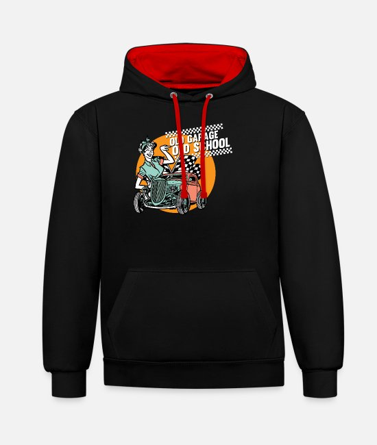 Ass Hoodies & Sweatshirts - Pinup vintage rockabilly - Unisex Contrast Hoodie black/red