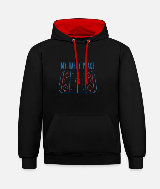 Field Hoodies & Sweatshirts - Gift idea for ice hockey players - Unisex Contrast Hoodie black/red