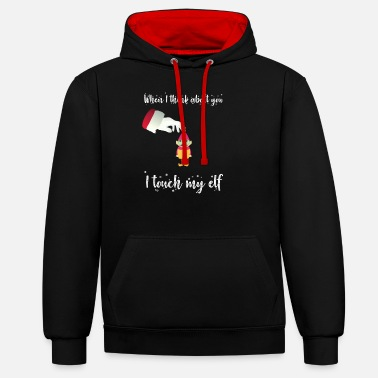 When I think about you I touch my eleven - Unisex Contrast Hoodie