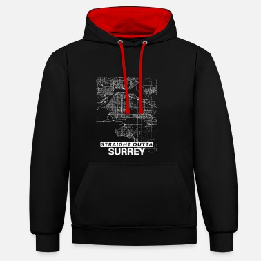 Surrey Straight Outta Surrey city map and streets - Unisex Contrast Hoodie