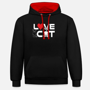 Face Love cat - Unisex Contrast Hoodie