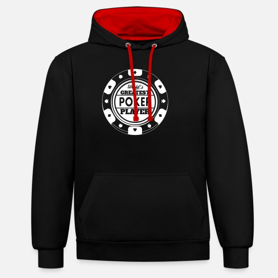 Play Poker Hoodies & Sweatshirts - Poker gift ace bluff poker pokerface holdem - Unisex Contrast Hoodie black/red