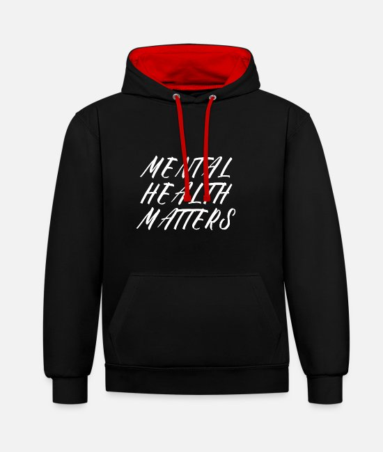 Mental Health Hoodies & Sweatshirts - MENTAL HEALTH AWARENESS: Mental Health Matters - Unisex Contrast Hoodie black/red