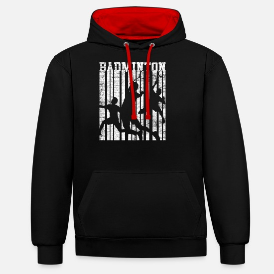 Gift Idea Hoodies & Sweatshirts - Badminton competition - Unisex Contrast Hoodie black/red