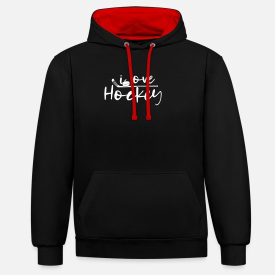 Hockey Felpe - Hockey Hockey Hockey su prato indoor Hockey Player Hockey - Felpa con cappuccio bicolore unisex nero/rosso