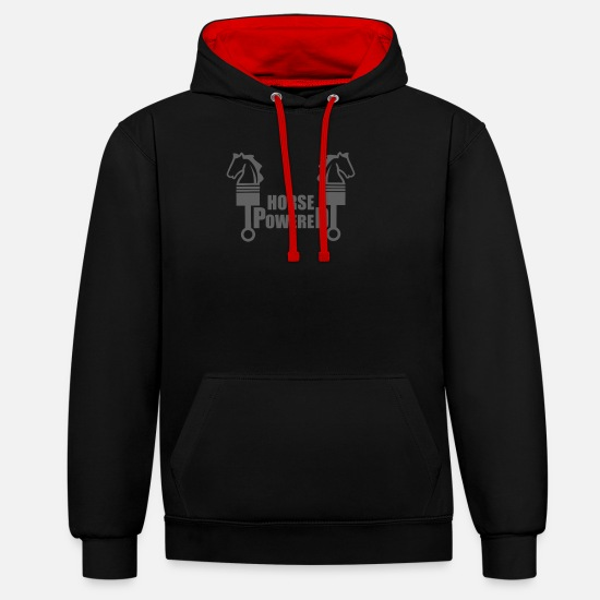 Horse Head Hoodies & Sweatshirts - horsepower - Unisex Contrast Hoodie black/red