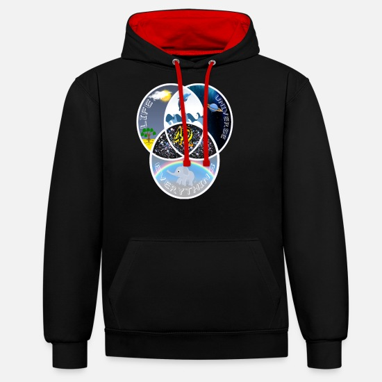 Hitchhiking Hoodies & Sweatshirts - 42 Answer Life Universe - Unisex Contrast Hoodie black/red