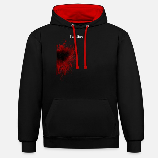 Horror Hoodies & Sweatshirts - Attacked blood shot wound - Unisex Contrast Hoodie black/red