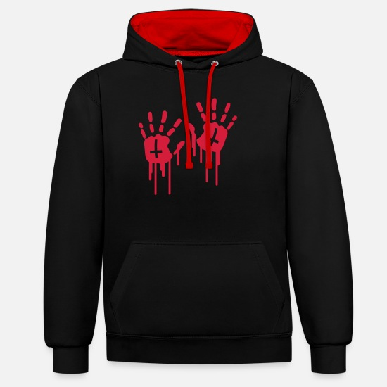 Satan Hoodies & Sweatshirts - Bloody Handprints - Unisex Contrast Hoodie black/red