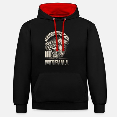 Fighting God's Best Friend Pit Bull Pit Bull Gift - Unisex Contrast Hoodie
