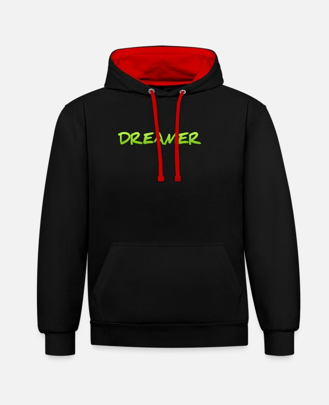 Bed Hoodies & Sweatshirts - Dreamer Dreaming Sleeping Hope Confidence Shirt - Unisex Contrast Hoodie black/red