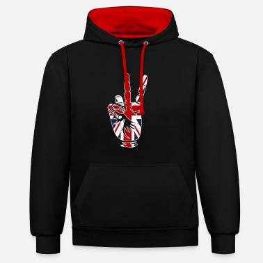 Great Peace finger gift Great Britain - Unisex Contrast Hoodie