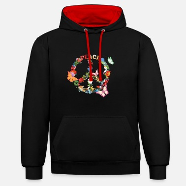 Hippie peace, love, hippie, flower power, 70s, frieden - Unisex Hoodie zweifarbig