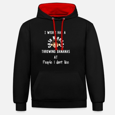 Grumpy In The Morning Monkey banana funny humorous morning grumpy office job - Unisex Contrast Hoodie