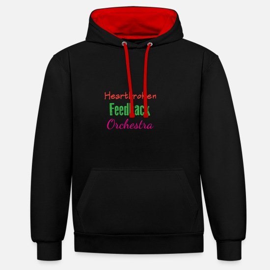 No Hoodies & Sweatshirts - Funny Feedback Tshirt Designs Heatbroken - Unisex Contrast Hoodie black/red