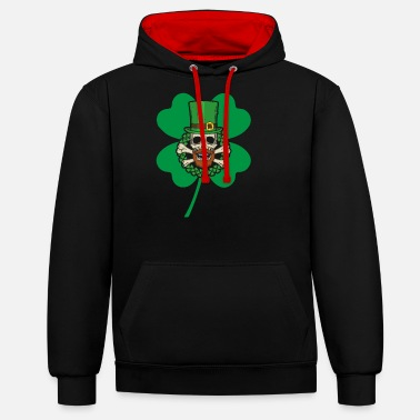 Magic Patrick's Day Skull Green - Unisex Contrast Hoodie