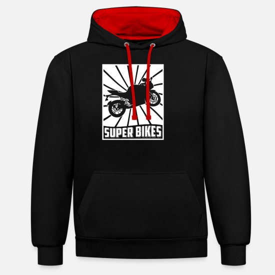 Heart Rate Hoodies & Sweatshirts - Superbike racing motorcycle bike motorcycle - Unisex Contrast Hoodie black/red