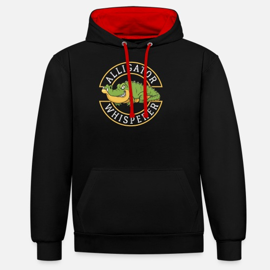 Birthday Hoodies & Sweatshirts - alligator - Unisex Contrast Hoodie black/red