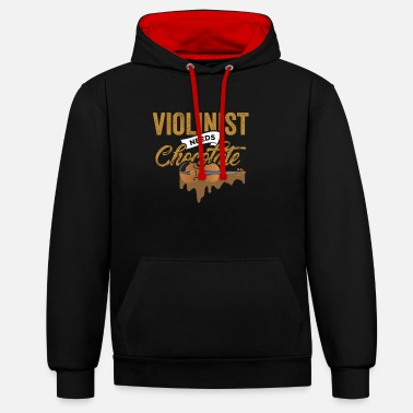 Violin Player Violinist Bow Music Instrument Gift - Unisex Contrast Hoodie