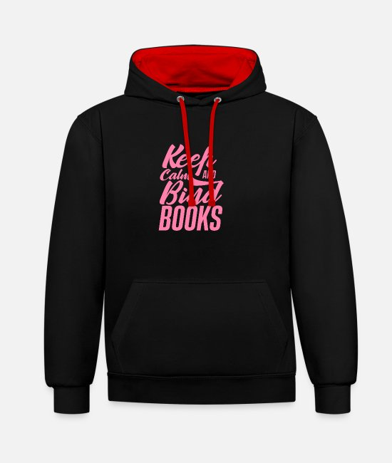 Occupation Hoodies & Sweatshirts - Binding bookbinding bookbinder books bookbinding - Unisex Contrast Hoodie black/red