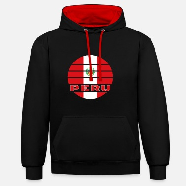 Peru Circle / National Flag Gift South America - Unisex Contrast Hoodie