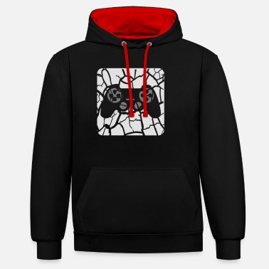 Geek tears scratches button controller play logo design - Unisex Contrast Hoodie