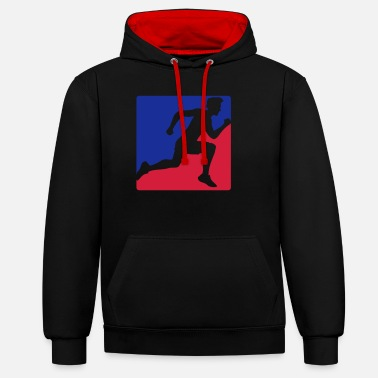 Blues red blue button design sport race sprinting fast e - Unisex Contrast Hoodie
