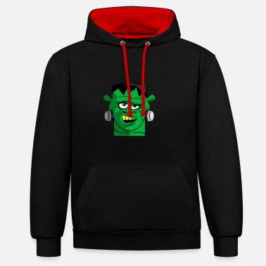 Mary Shelley Frankstein's Monster Cartoon Head - Unisex Contrast Hoodie