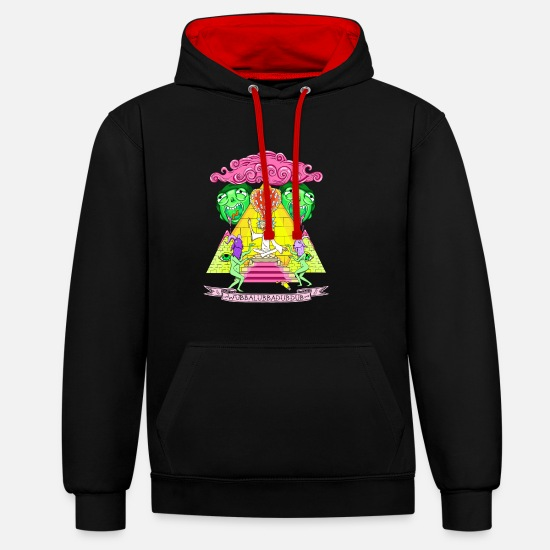 And Hoodies & Sweatshirts - Rick And Morty Pyramid With Catchphrase - Unisex Contrast Hoodie black/red