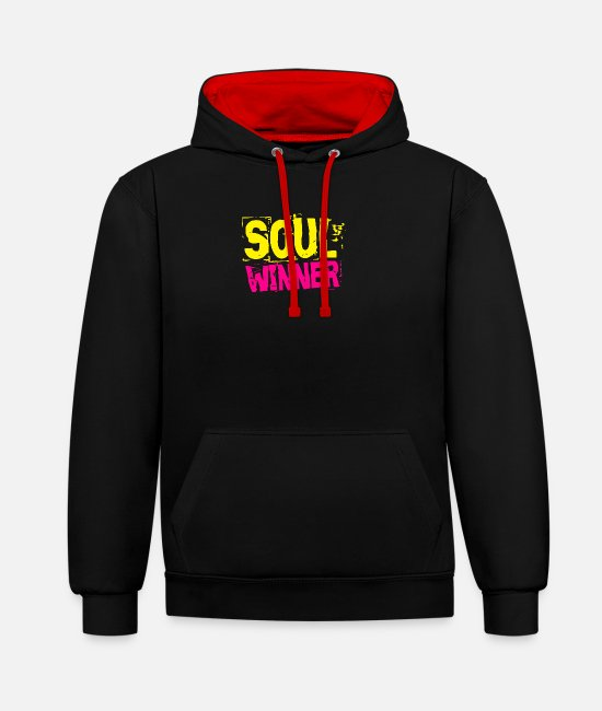 Christ Hoodies & Sweatshirts - Sellen winner Soul Winner - Unisex Contrast Hoodie black/red