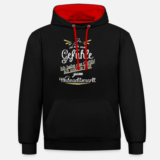 Birthday Hoodies & Sweatshirts - Christmas Market - Unisex Contrast Hoodie black/red