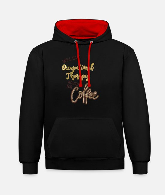 Liquidletterscontest Pullover & Hoodies - Occupational Therapy Advice for Coffee - Unisex Hoodie zweifarbig Schwarz/Rot
