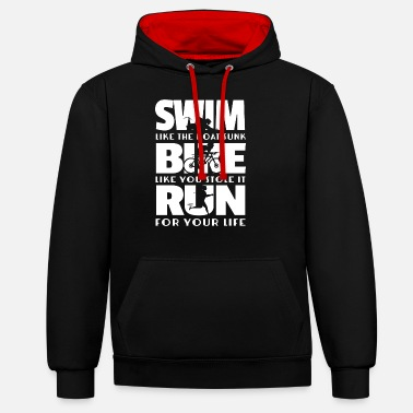 Triathlon Triathlon - Swim Bike Run cadeau - Sweat à capuche contrasté unisexe