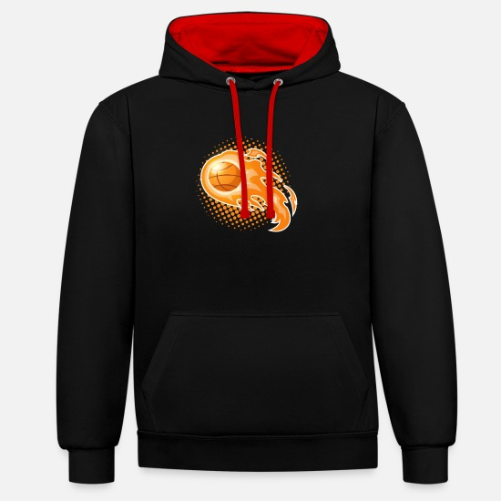 Gift Idea Hoodies & Sweatshirts - Basketball Rebound Gift - Unisex Contrast Hoodie black/red