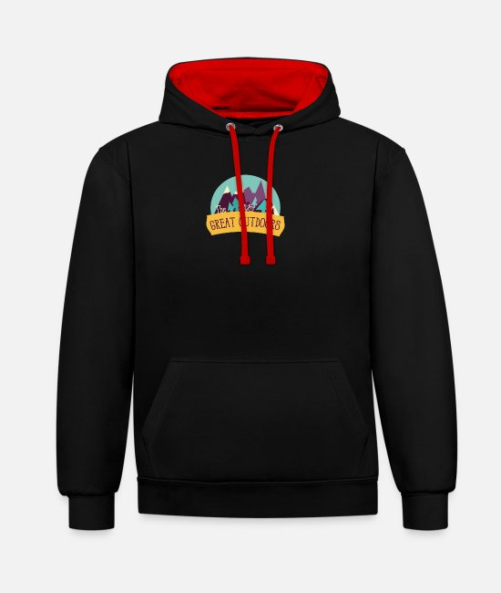 Eco Hoodies & Sweatshirts - the great outdoors - Unisex Contrast Hoodie black/red