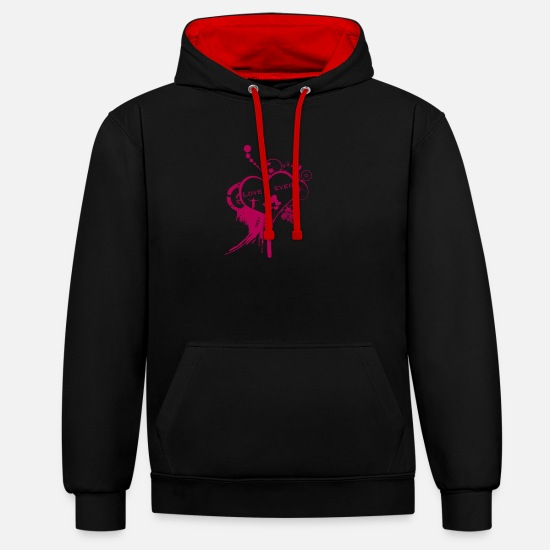 Love Hoodies & Sweatshirts - Love 4 Ever Valentine's Day - Unisex Contrast Hoodie black/red
