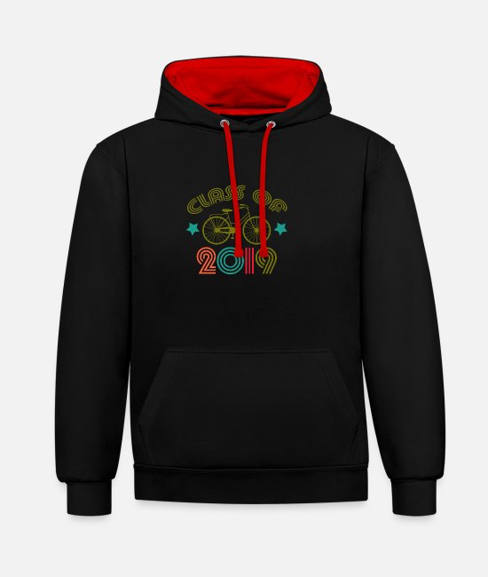 2019 Hoodies & Sweatshirts - 2019 class class reunion school gift - Unisex Contrast Hoodie black/red