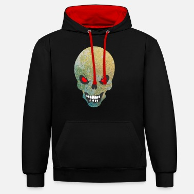 evil skull - abstract - Unisex Contrast Hoodie