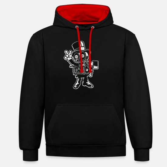 Character Hoodies & Sweatshirts - CAMERAMAN - Funny cartoon character cartoon gift - Unisex Contrast Hoodie black/red