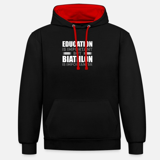 Winter Sports Hoodies & Sweatshirts - Education Training Biathlon T-Shirt Cross-Country - Unisex Contrast Hoodie black/red