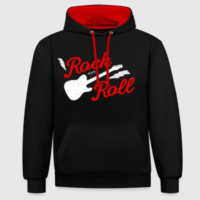 ROCK AND ROLL - Contrast Colour Hoodie