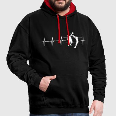I love volleyball (volleyball heartbeat) - Contrast Colour Hoodie