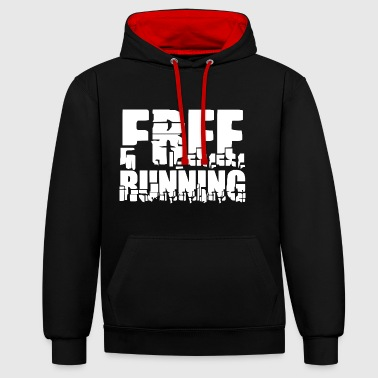 lettrage Cool: Free Running - Sweat-shirt contraste