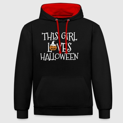 THIS GIRL LOVES HALLOWEEN - Contrast Colour Hoodie