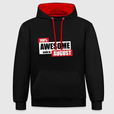 August Premium 100 - Birthday bday born - Kontrast-Hoodie