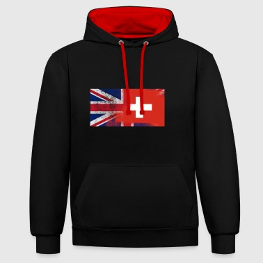 British Swiss Half Switzerland Half UK Flag - Contrast Colour Hoodie