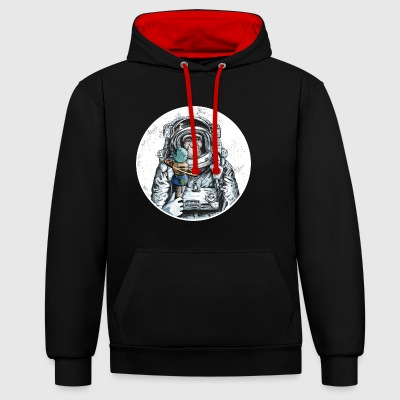 Monkey astronaut chimpanzee moon animal ice space - Contrast Colour Hoodie
