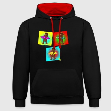 Bigfoot Sasquatch Surfboard Surfer Pop Art Edition - Contrast Colour Hoodie
