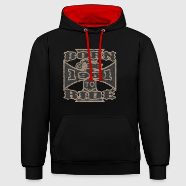 born to ride motorcycle biker 1951 - Contrast Colour Hoodie