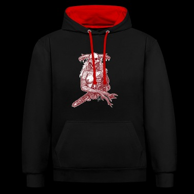 tech-no-logic-kill red - Contrast Colour Hoodie